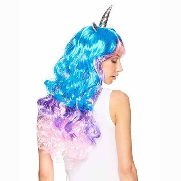 Rainbow Unicorn Cosplay Wig Headband Halloween Costumes for kid adult birthday Bachelorette Hen Party Girl Night Decoration gift