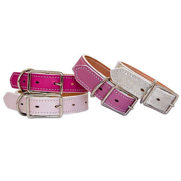 Classic Leather Dog Collar Handmade in 31 Colors,Pearl Croc Rose Pink  Fuchsia Icy Pink