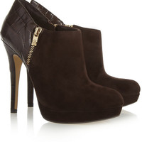 MICHAEL Michael Kors | York croc-effect leather and suede ankle boots | NET-A-PORTER.COM