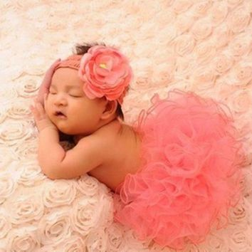 PEAPIX3 newborn baby girls cute headband headwear dress skirt photography props costume clothing set = 1945966212