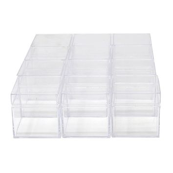 Clear Plastic Square Box with Lid, 2-Inch, 12-Count