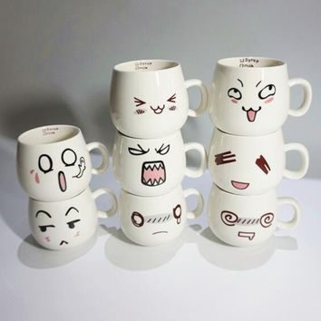 Creative Fun 8 Kawaii Styles Cute Face Mug White Pottery Ceramic Cup Tea Coffee Milk Cup With Handgrip 300ml
