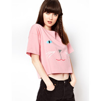 Cute Kitty Hand Printed Loose Fit T-shirt Pink