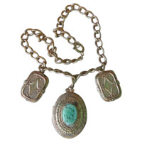 DRASTIC REDUCTION Vintage 1950's Victorian Revival Faux Jade Peking Glass Gold Filled Locket & Charm Necklace