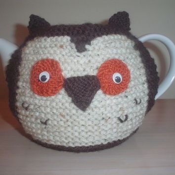 Hand Knitted Owl Tea Cosy, teapot cozy