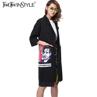 [TWOTWINSTYLE] 2017 new print big pocket long trench women coat black windbreaker thin clothing fashion