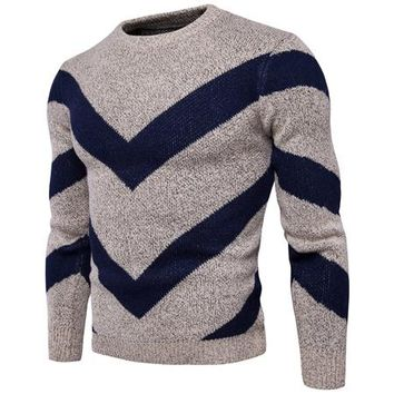 Sweater Men Fashion Design Mens Knitted Sweaters Double V Pattern Striped Pullover Men Casual Slim Fit Sweater Masculino