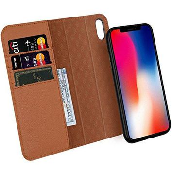 Zover iPhone X Case Detachable Genuine Leather Wallet Case With Auto Sleep/Wake Function Support Wireless Charging Magnetic Car Mount Holder Kickstand Feature Magnetic Closure Gift Box Brown
