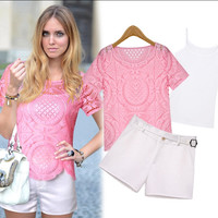 Short Sleeves Lace Top High Waist Belted Fitted Shorts