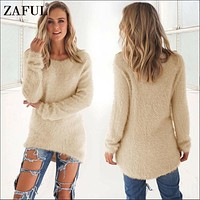 ZAFUL 2017 Autumn Winter Women Sweaters Pullovers Long Knitted Sweater Women Tricot Pullover Jumpers Mujer Sweater pull femme