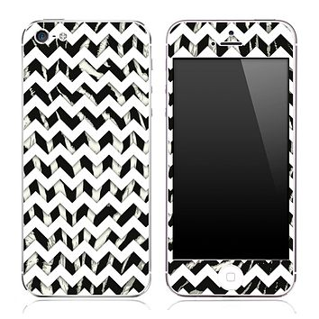 Real Zebra Print under White Chevron Pattern Skin for the iPhone 3, 4/4s or 5