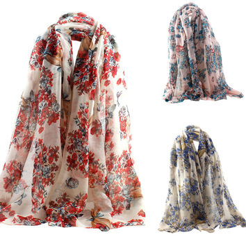 Fashion Scarf Luxury Brand Women Long Scarf Shawl Silk Floral Printed Scarves Large Size 90*180cm