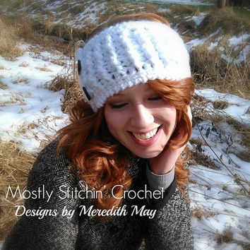 Winter Ridges Earwarmer; CROCHET PATTERN; PDF