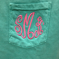 Monogrammed Comfort Colors Pocket Tee (Frocket) Short Sleeve