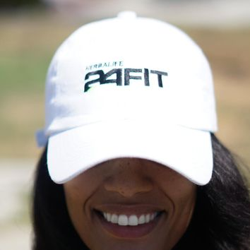 Herbalife 24 FIT polo dad hat, white w/black