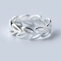 Sweet lovely olive branch 925 sterling silver tail ring,a perfect gift
