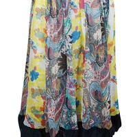 Mogul Interior Womens Patchwork Skirt Printed Multi Flare Indian Chiffon Skirts L: Amazon.ca: Clothing & Accessories