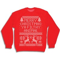 Merry Christmas Ya Filthy Animal Men's Crew Neck Sweatshirt - Walmart.com