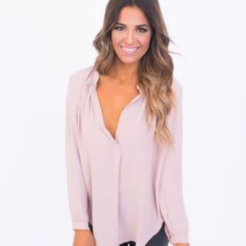Long Sleeve Chiffon Blouse- Dusty Rose