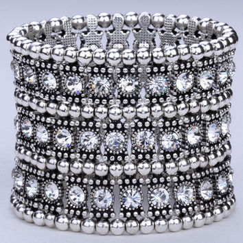 Multilayer stretch cuff bracelet women crystal wedding bridal fashion jewelry 3 ROW B11