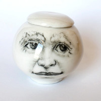 Man in the Moon Jar, moon jar, white porcelain jar for the home