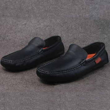 Leather Men Loafers Slip On Men Leather Shoes