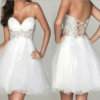 Sweetheart White Mini Prom Dress Homecoming Dress = 1932951044