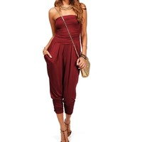 Burgundy Harem Pants Jumpsuit