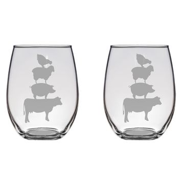 Stacked farm Animals Glasses, Cow, Chicken, Sheep, Pig Gift Free Personalization