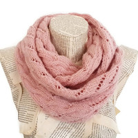 Powder Pink infinity Scarf, Women Scarves, Knitted scarf, Winter Accessories, Outfits