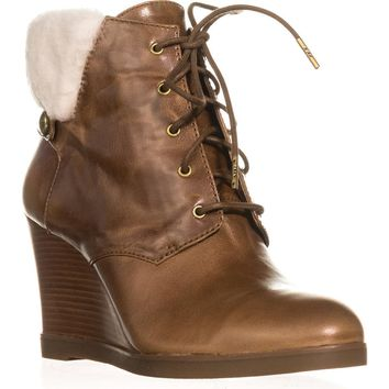 MICHAEL Michael Kors Carrigan Wedge Knit Cuff Lace Up Ankle Boots, Caramel, 11 US / 42.5 EU