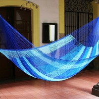 Artisan Crafted Rope Hammock (Single) - Blue Caribbean | NOVICA