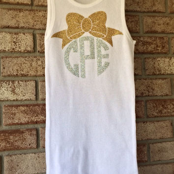 Glitter Monogram Tank Top Monogrammed Tank Top with Anchor, Monogram Bow, Dance Cheer Gymnastics Apparel Women Teens Girls