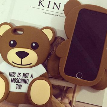 Hot 3D Moschino Teddy Bear Silicon Case Shell For iPhone 6/6S Plus iPhone7 Plus