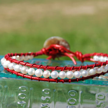 Crimson & Cream Freshwater Pearl Wrapped Red by authenticaboutique