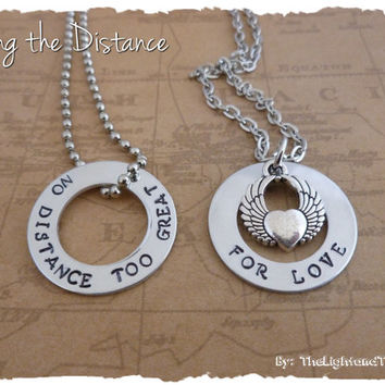 Long distance relationship or His & Her Necklaces and Charms - No Distance too great for love