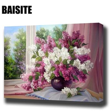 BAISITE Framed Morden Flower DIY Oil Painting By Numbers Painting&Calligraphy Decor Wall Art E803 40x50cm