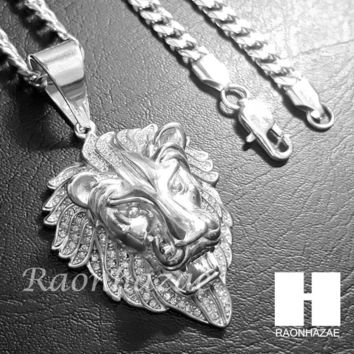 Iced Out 316L Stainless steel Silver Bling King Lion w/ 5mm Cuban Chain SG7