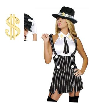 Gangster 20s Mob Mafia  with dollar hat    womens costume