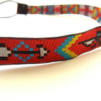 Red Aztec Headband by OneStitchAway on Etsy