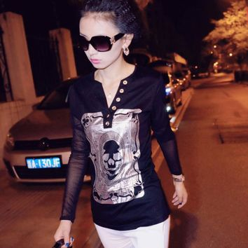 New fashion design women lady girl clothing Skull pattern T shirts sexy tops Long sleeve Plus size