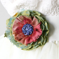 Colorful Textile Brooch with Vintage Blue Button