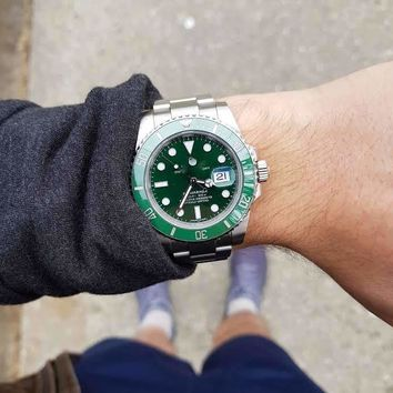 Day-date Submariner Watch (Stainless Steel/Green)