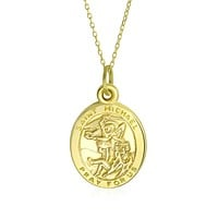 14K Yellow Real Gold Saint Michael For Protection Religious Metal