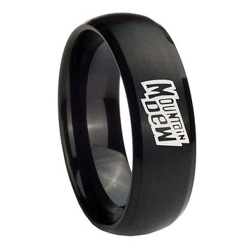 8mm Mountain Dew Dome Brush Black Tungsten Carbide Wedding Bands Ring