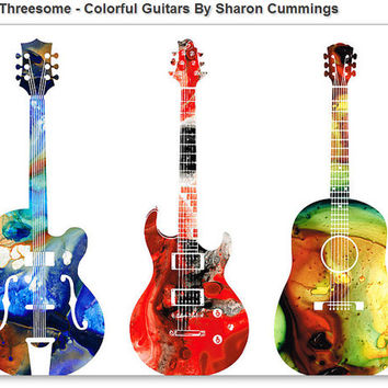 Guitar Art Print Painting Bass Electric Vintage Acoustic Rock And Roll Music Colorful CANVAS Ready To Hang Large Artwork Colorful Abstract