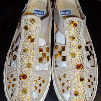 vintage Keds shoes upcycled gold studs spikes and rhinestones womens 10 41