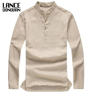 High Quality Relaxed Stand-up Collar Linen t shirts Long sleeve famous men Casual Refreshing Breathable Camisa Masculina