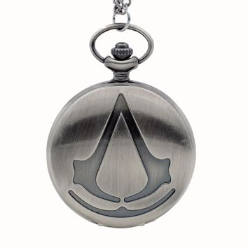 Fashion Assassin's Creed Sci-Fi Movie Quartz Pocket Watch Analog Pendant Necklace Mens Womens Watches Chain Gift Bronze/Grey