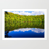 Beauty of nature, a forest lake in the middle of the autumn forest Art Print by Tanja Riedel